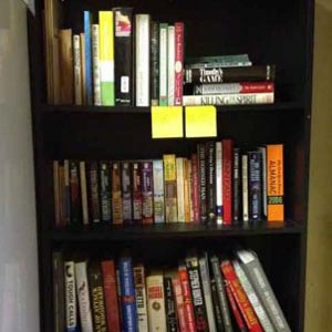 Jacquie Ottman's office book shelf