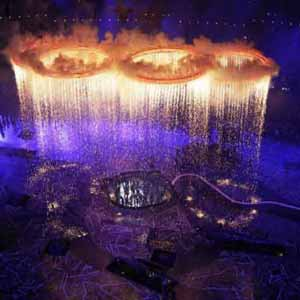 Olympic rings raining waste water