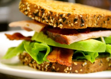 Turkey, bacon, lettuce and avocado sandwich.