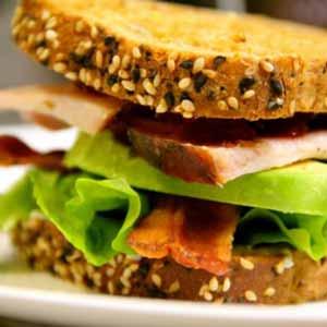 Turkey, bacon, lettuce and avocado sandwich.