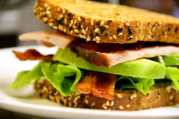 Turkey, bacon, lettuce, homemade mayo and avocado sandwich.