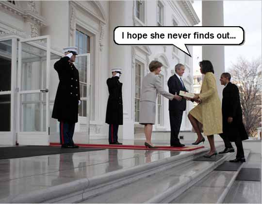 Edited Michelle Obama meets Bush with present