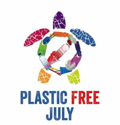Plastic Free July Logo made from ocean plastic waste