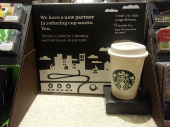 Starbucks recyclable $1 plastic cup marketing in-store