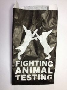 Fighting rabbits represent Lush Cosmetics no animal testing stance
