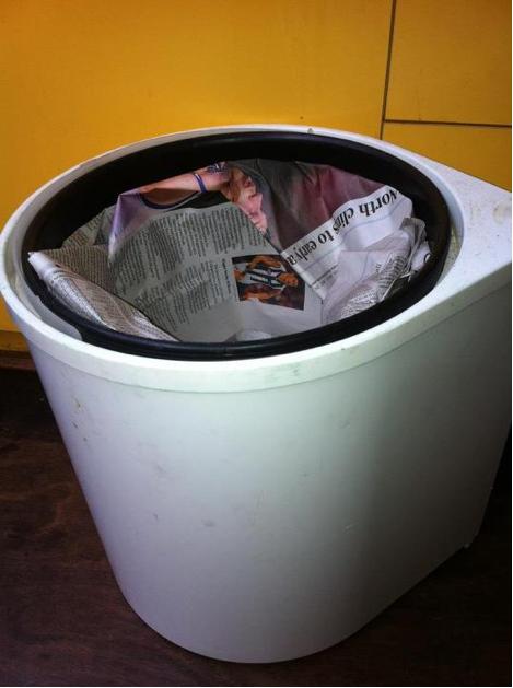 Newspaper trash bin liner