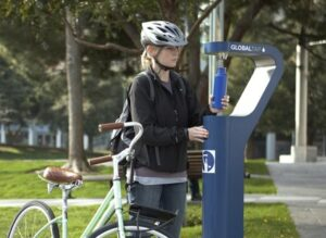 Use your refillable water bottle at a GlobalTap water fountain (Image: ideo.com)