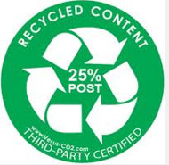 Look for labels like this for items that are made with recycled content (versus-co2.com)