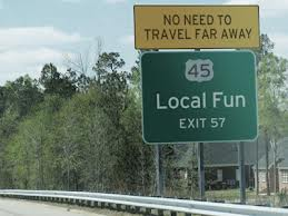 Local Fun highway sign