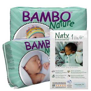 Compostable Diapers by Bambo Nature and Naty