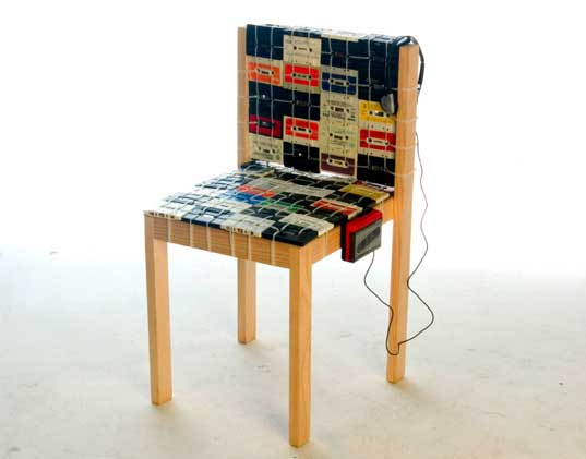 Cassette tapes can turn a plain chair into a unique statement piece of furniture.  (Image: Ooomy Design)