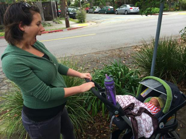 Mother and daughter take a walk in a hand-me-down stroller (Image: Jen Boynton)