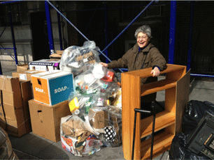 Jacquie Ottman spots a new bookcase in the trash