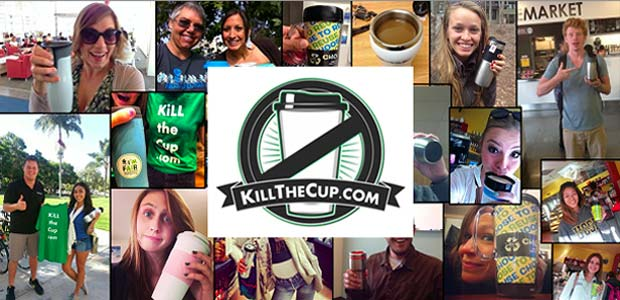 The Kill the Cup campaign encourages students to submit photos of themselves with their reusable coffee cups (Image: courtesy of Drew Beal)