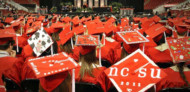 An endless sea of graduation caps and gowns are single-use items.