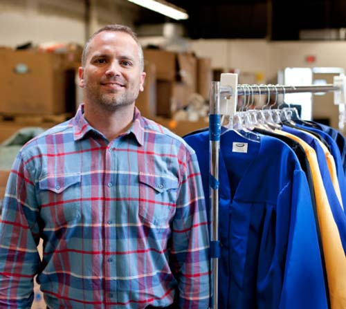 Seth Yon, founder of Greener Grads, helps grads reuse their graduation gowns, instead of trashing them in landfills.