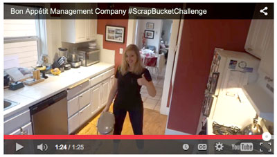 Claire Cummings of Bon Appetit Management takes the Scrap Bucket Challenge to raise awareness for food waste