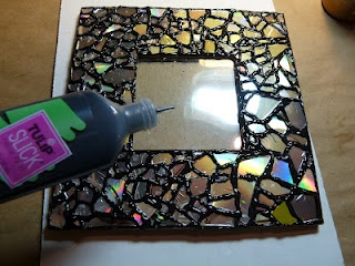 Shattered CDs Used to Decorate Picture Frame