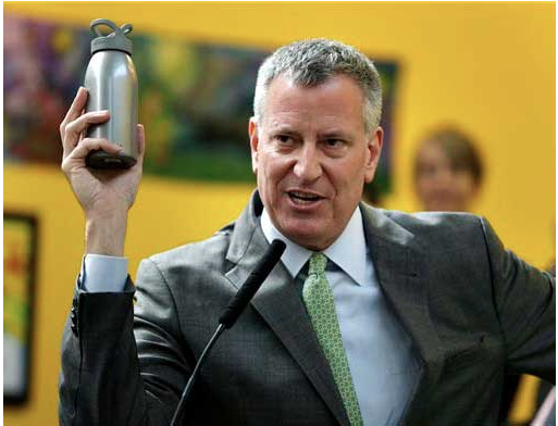NYC Mayor Bill De Blasio reusable water bottle