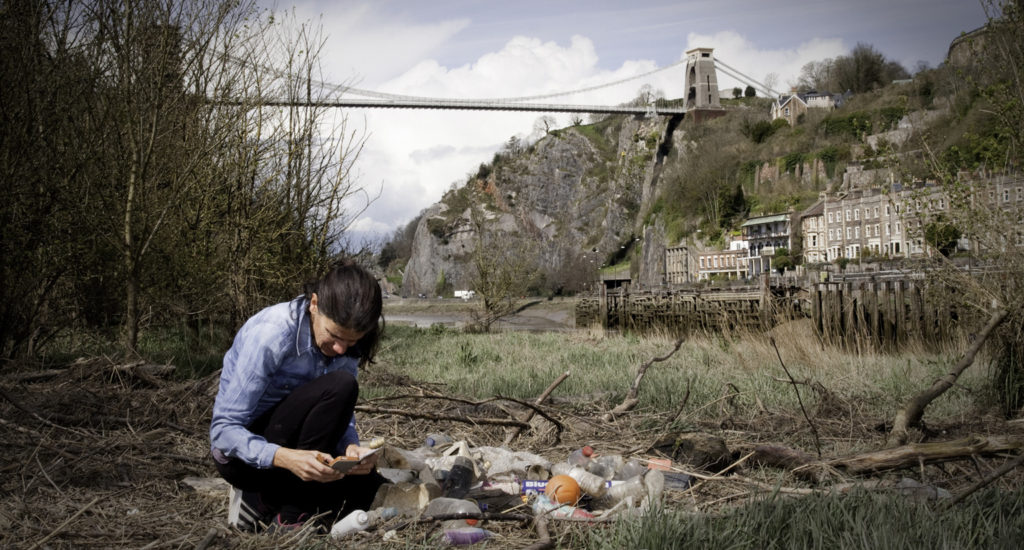 R. Prince-Ruiz studies ocan plastic waste for the Refill Bristol initiative in Bristol, UK. (Image: Michelle Cassar, Cassar Photography/Being PALL)