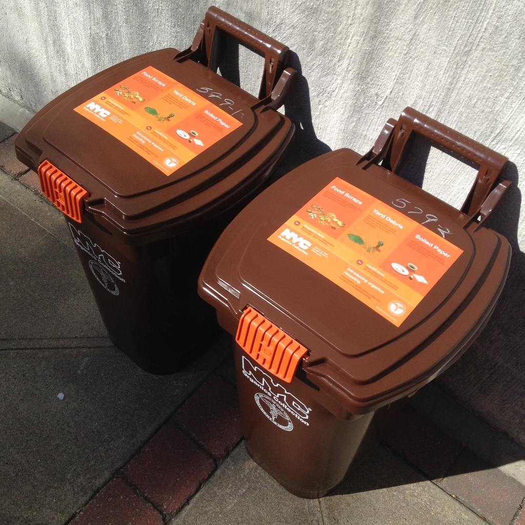 Specially designed collection bins for in-building recycling of organics in NYC apartment buildings