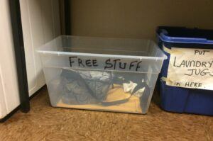 Free box in the laundry room of an NYC apartment building.