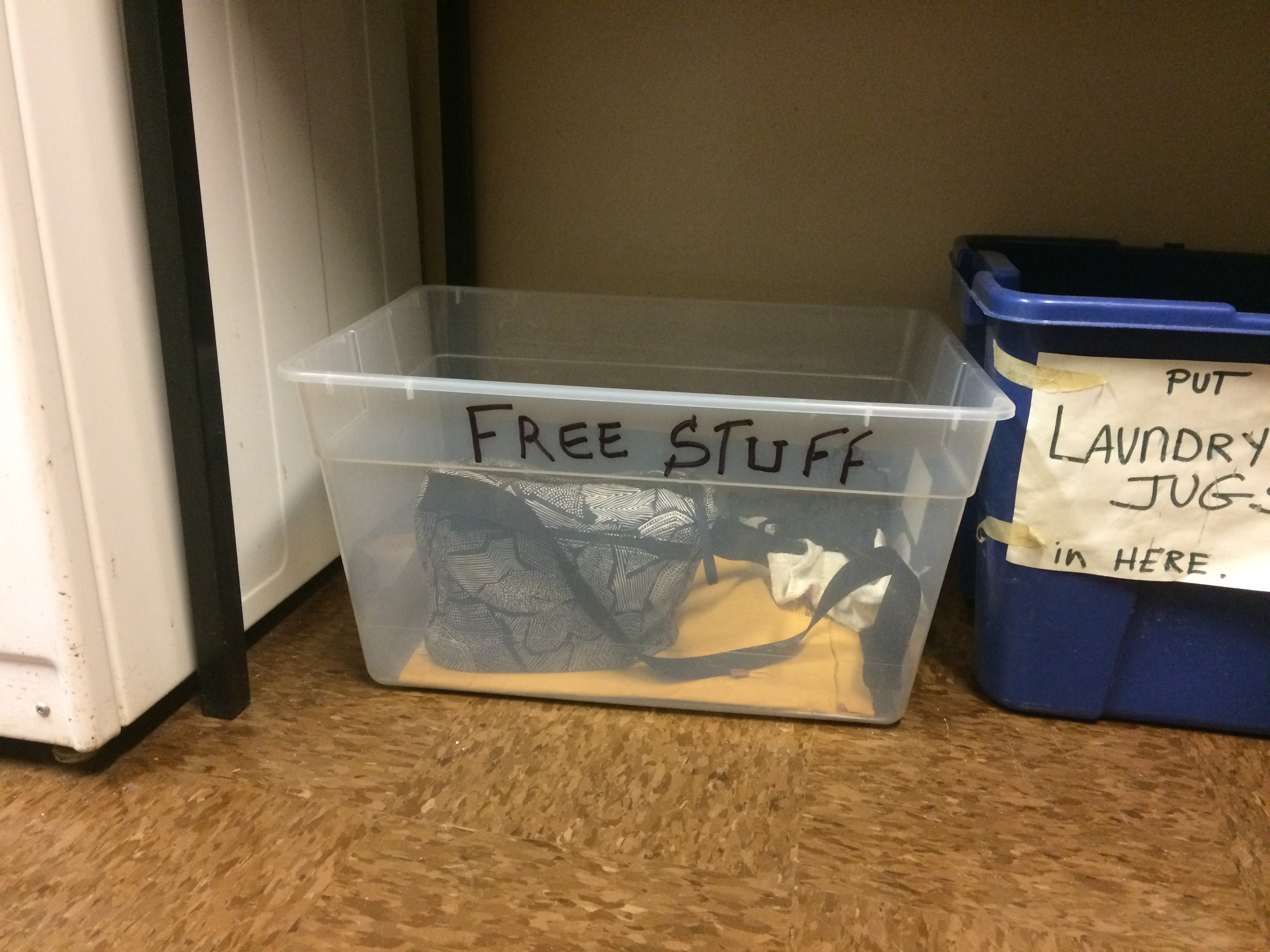 Free stuff box in the laundry room of Jacquie Ottman's NYC apartment building.