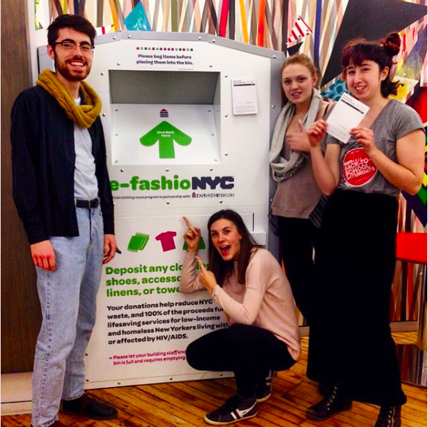 Pratt Institute students with re-fashioNYC bin