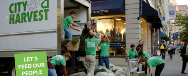 NYC kids load a City Harvest Truck for Food Donation