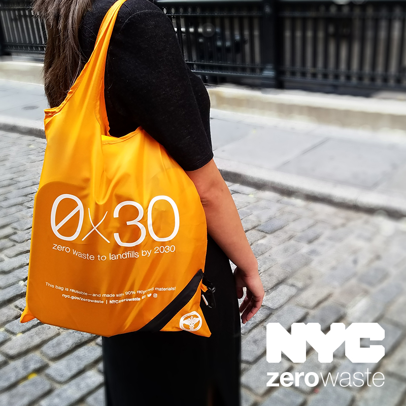 Carrying a reusable bag is one way that all New Yorkers can help to get to Zero Waste by 2030
