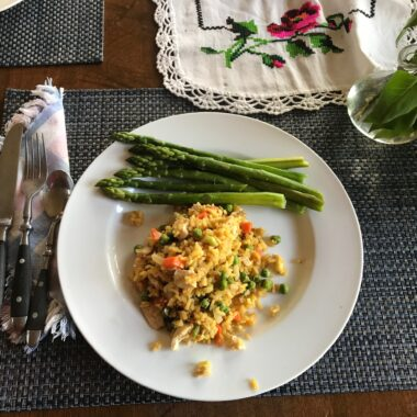 Chicken Fried Rice made from Leftover Roast Chicken